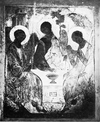 Фотография «Троицы» Андрея Рублева в УФ лучах