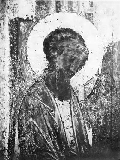 Левый ангел из «Троицы» Андрея Рублева: фотография в УФ лучах