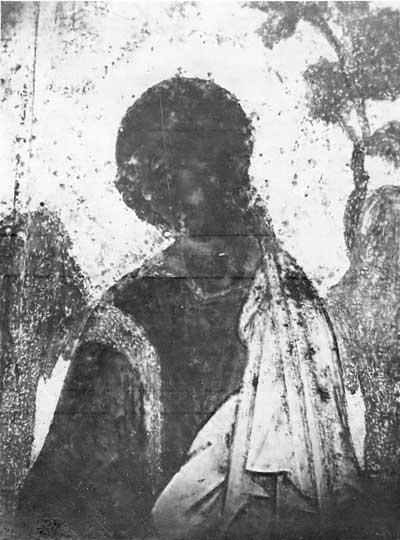 Средний ангел из «Троицы» Андрея Рублева: фотография в УФ лучах