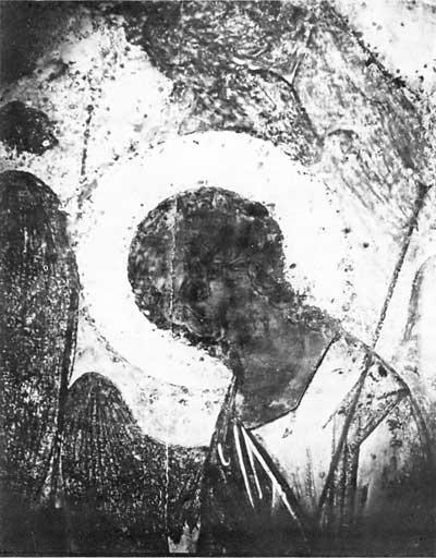 Правый ангел из «Троицы» Андрея Рублева: фотография в УФ лучах