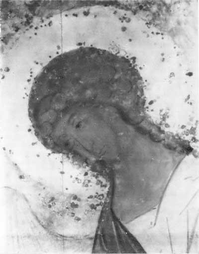Правый ангел из «Троицы» Андрея Рублева: фотография в ИК лучах