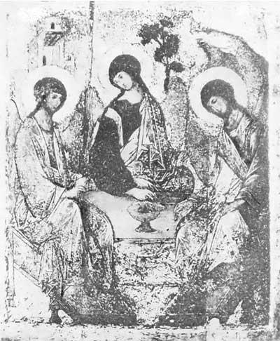 «Троица» Андрея Рублева: фотография в процессе реставрации 1904–1905гг.
