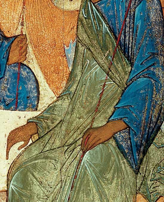 Руки и одеяние правого ангела