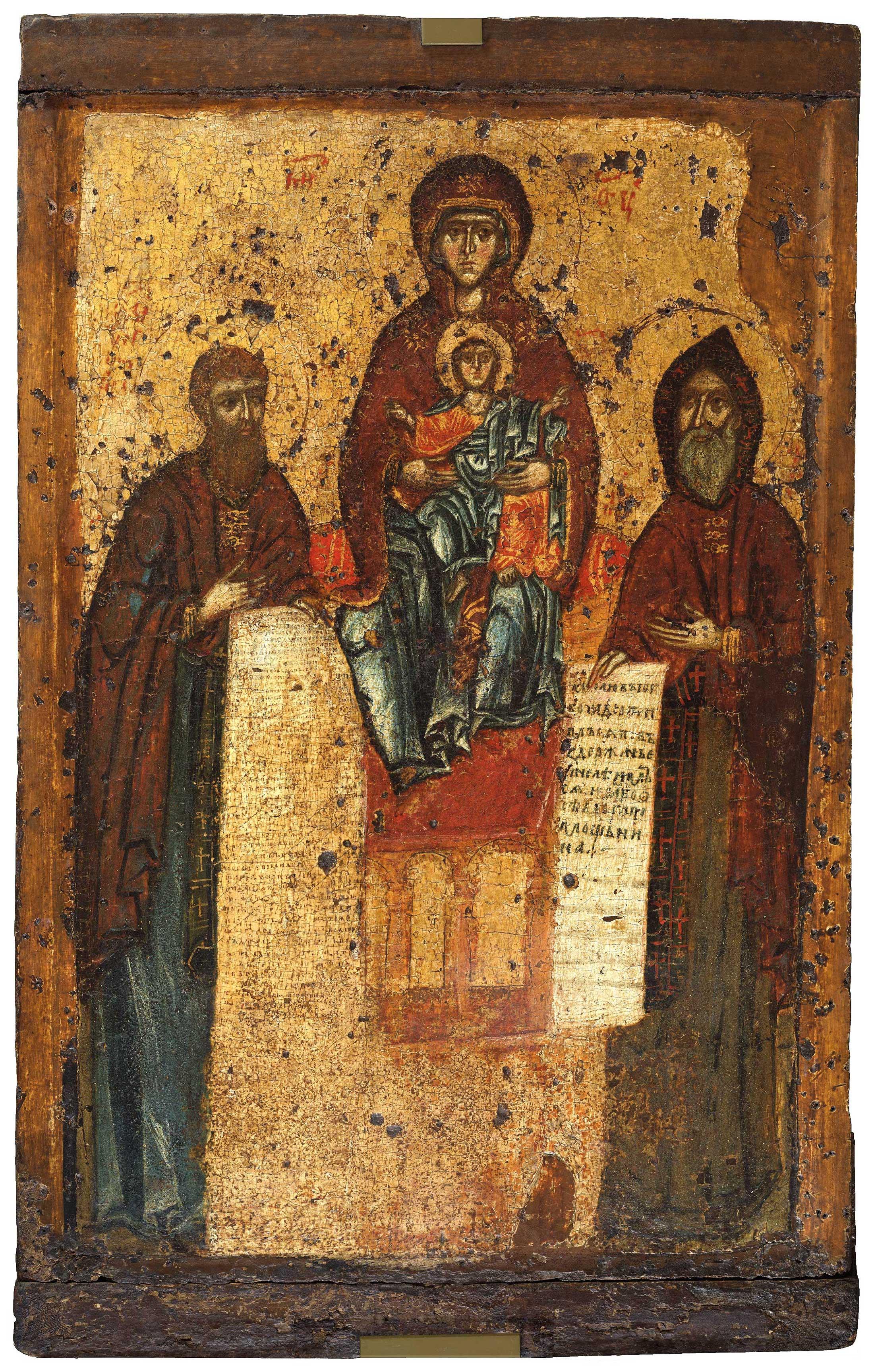 Богоматерь Свенская с преподобными Антонием и Феодосием Печерскими