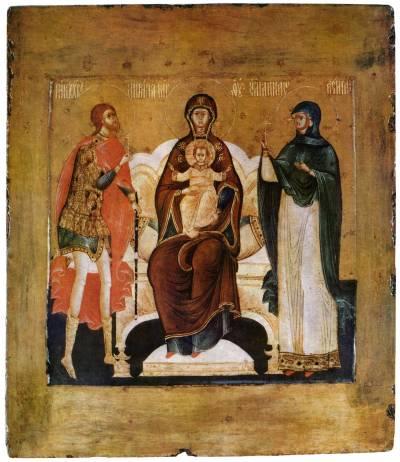 Богоматерь Печерская с предстоящими Никитой-воином и Анастасией