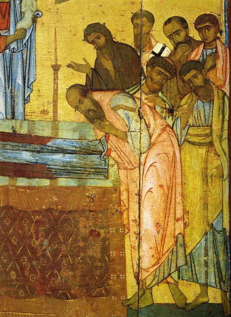 Группа апостолов у ложа в ногах Богоматери