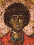 [Илл. с. 71] Георгий. Первая треть XIV в. Деталь иконы «Георгий». XII в., со значительными поновлениями первой трети XIV в. ГТГ <nobr>(кат. № 6)</nobr>.