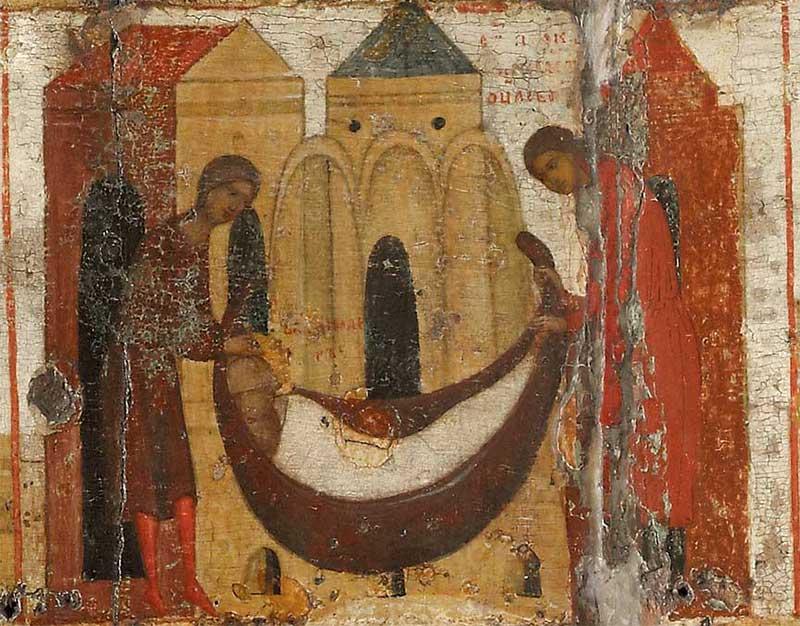 Погребение княза Владимира, умершего в отсутствие сына