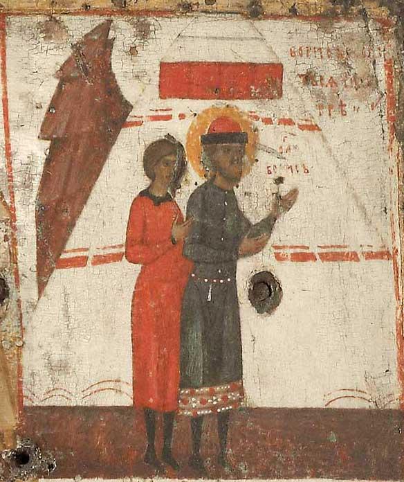 Борис со слугой Георгием Угриным молятся в шатре