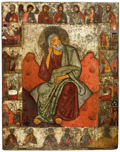 The Prophet Elijah in the Wilderness with Scenes from His Life and Deesis