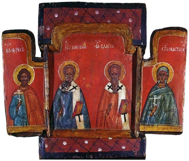 SS. Florus, Nicholas, Blasius and Anastasia. Tryptych