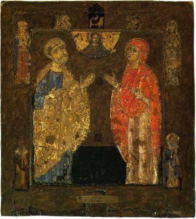 Апостол Петр и мученица Наталия(?) / Богоотцы Иоаким и Анна(?)