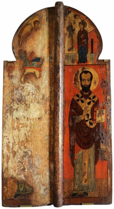 Königstür mit der Darstellung der Mariä Verkündigung und den hl. Kirchenvätern Johannes Chrisostomus und Basilius d. Gr.