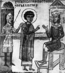 [Илл. с. 295] Кат. № 10. Клеймо. Георгий перед царем
