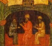 [Илл. с. 364] Кат. № 34. Клеймо. Явление Николы «трем мужам» в темнице