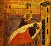 [Илл. с. 363] Кат. № 34. Клеймо. Явление Николы Евлавию во сне