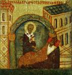 [Илл. с. 364] Кат. № 34. Клеймо. Явление Николы царю Константину во сне