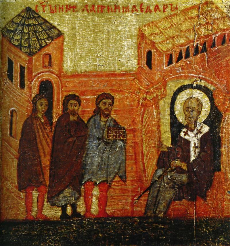 Свт. Николай принимает дары царя Константина