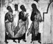 [Илл. с. 110] Иоанн Предтеча и апостолы. Деталь иконы «Покров». Конец XIV в. (около 1399 г.). Новгородский музей (кат. № 21)