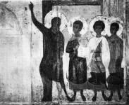 [Илл. с. 111] Андрей, Епифаний и мученики. Деталь иконы «Покров». Конец XIV в. (около 1399 г.). Новгородский музей (кат. № 21)
