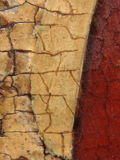 Старая чинка грунта с рисованным кракелюром, выполненным реставратором ГТГ