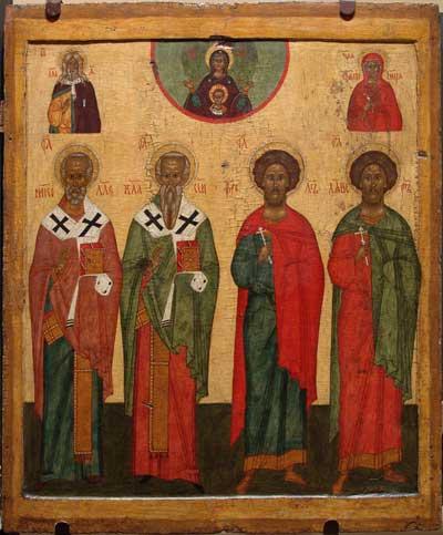 Gottesmutter des Zeichens mit ausgewählten Heiligen
