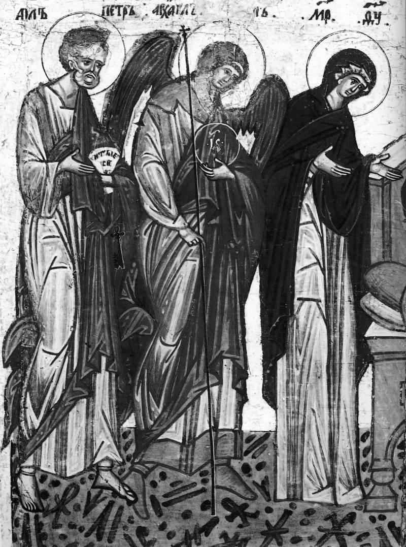 Богоматерь, архангел Михаил, апостол Петр