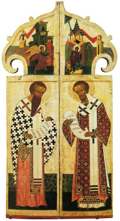 Царские врата с изображениями Благовещения и двух святителей