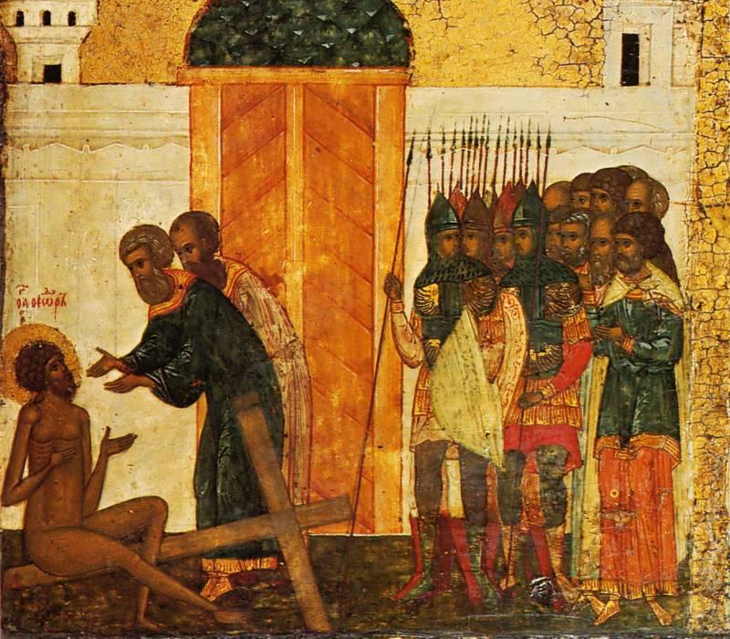 Приход к Феодору двух сотников и проповедь у креста