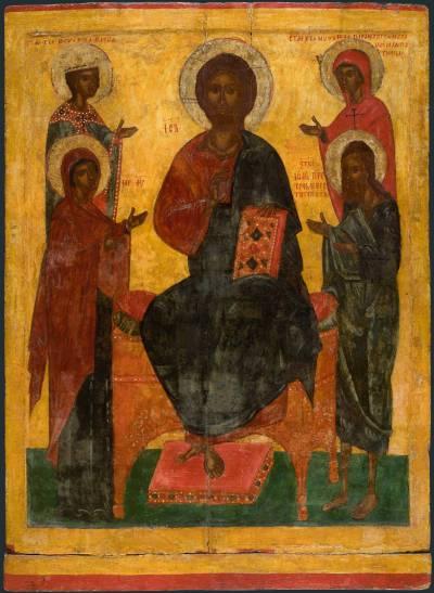Deesis mit den Heiligen Barbara und Paraskewa.