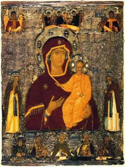 Богоматерь Одигитрия, Троица и избранные святые