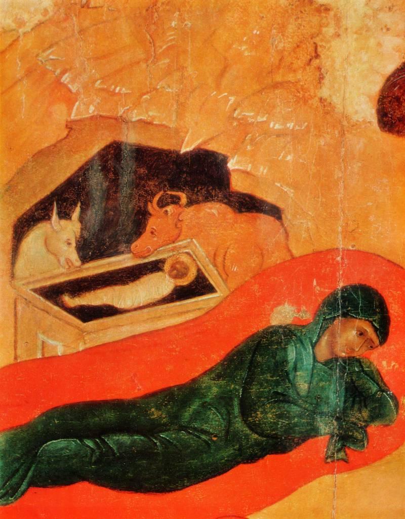 Младенец Христос и Богоматерь на ложе