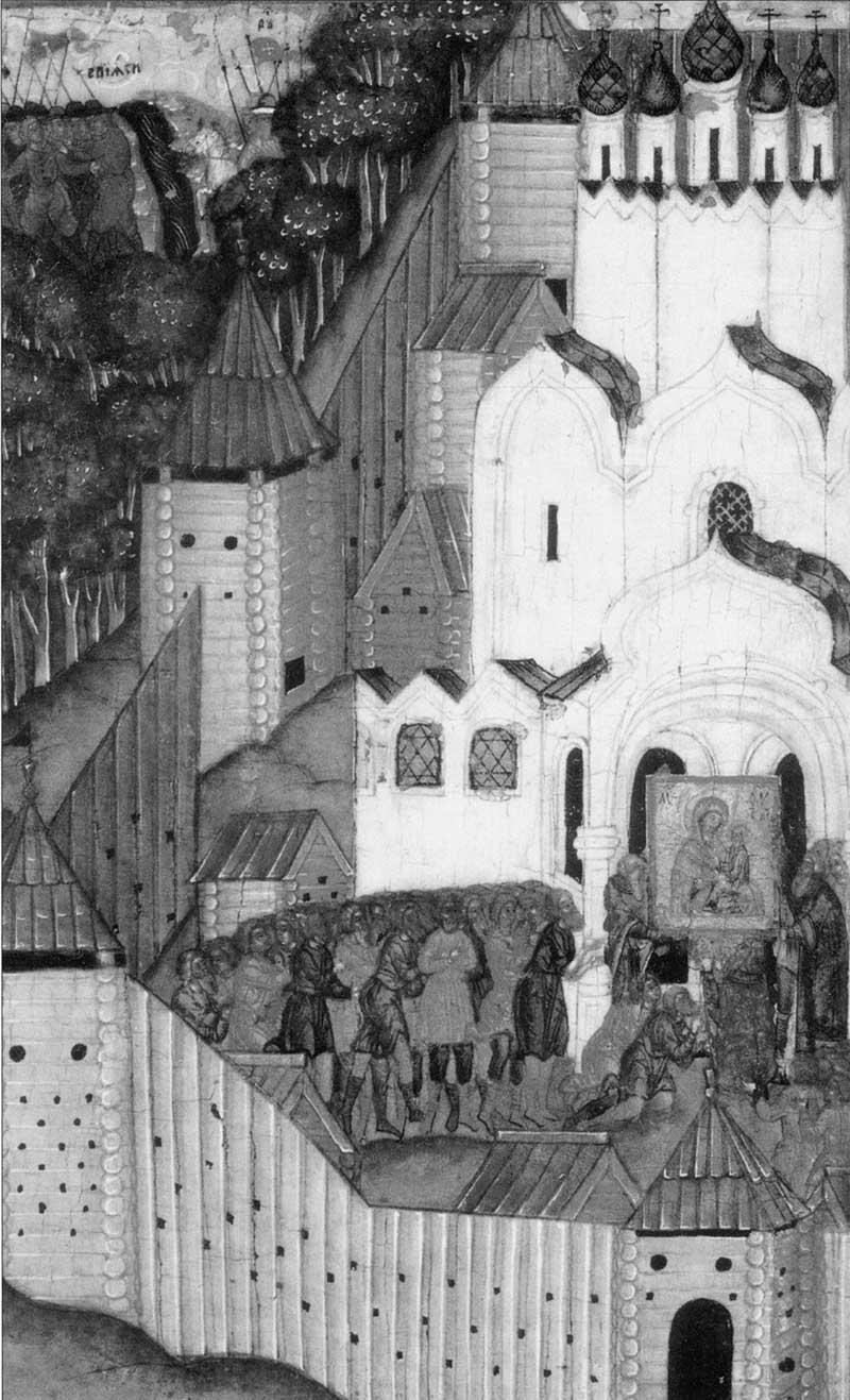 Священники, хотящие унести икону от шведской опасности, не могут сдвинуть ее с места; «безвоинственная» победа русских