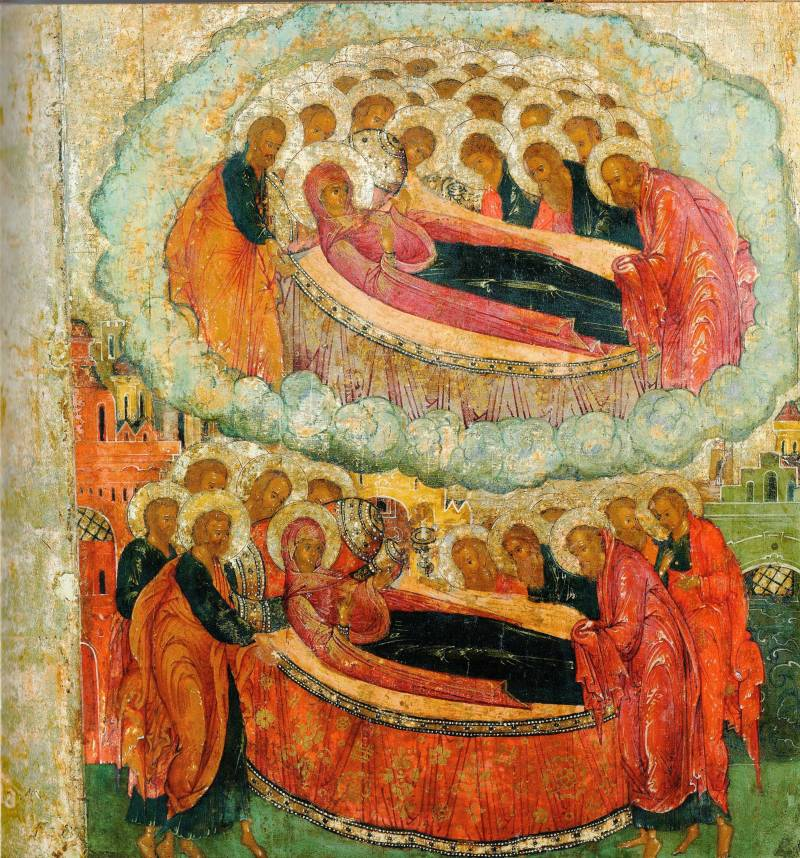 Богоматерь и апостолы переносятся Святым Духом в Иерусалим