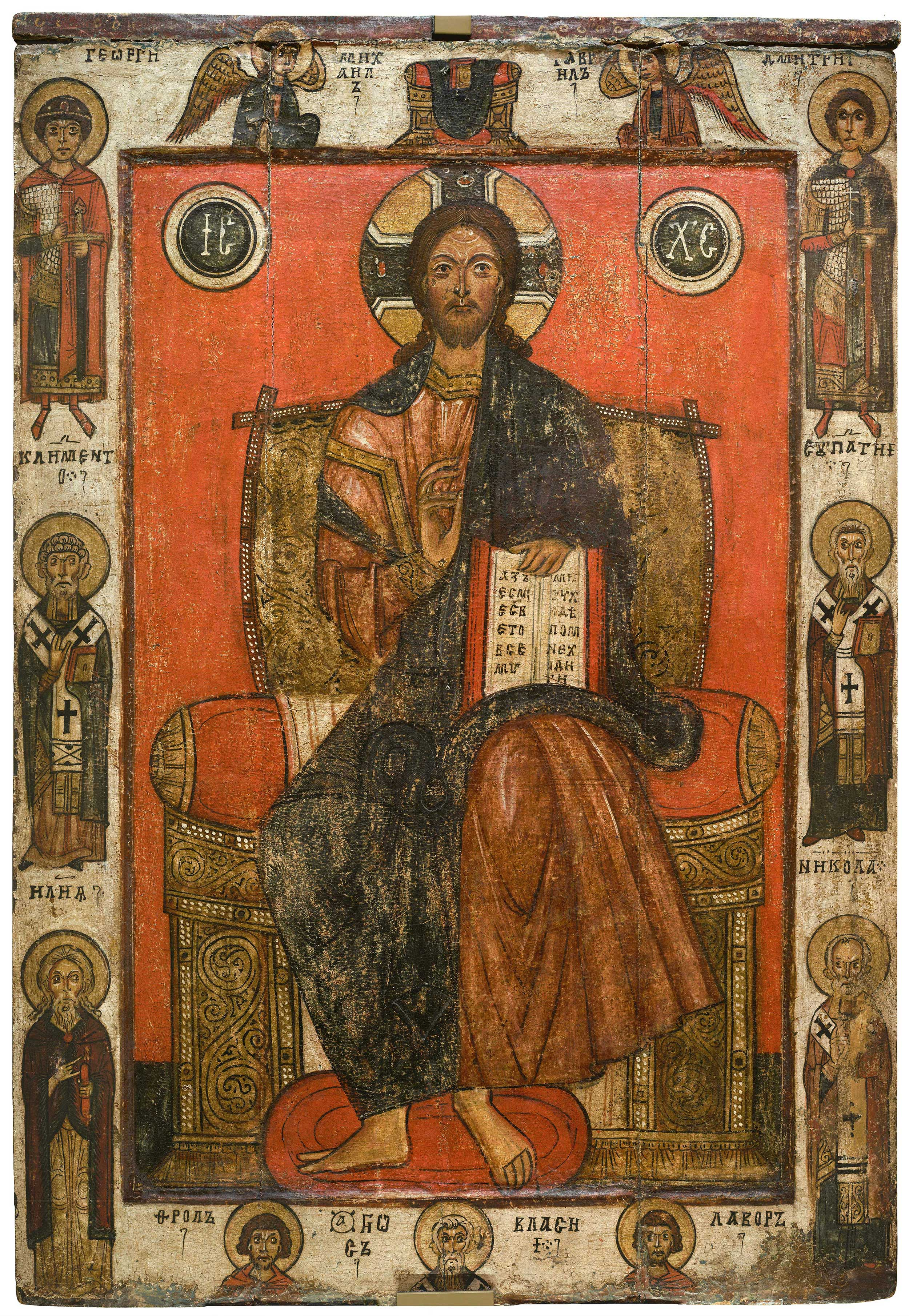 Спас на престоле, с избранными святыми