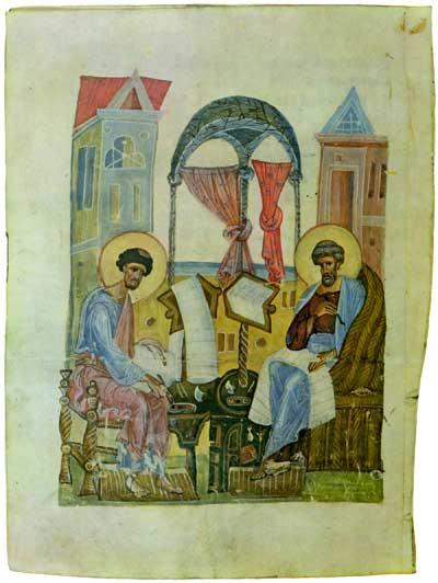 Евангелисты Марк и Лука - Евангелие Спасского монастыря [№ 15690], л. 102 об.