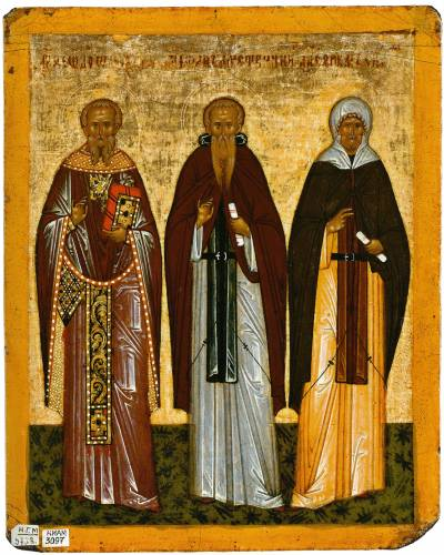 Феодор Студит, Феодосий Великий (?) и Ефрем Сирин