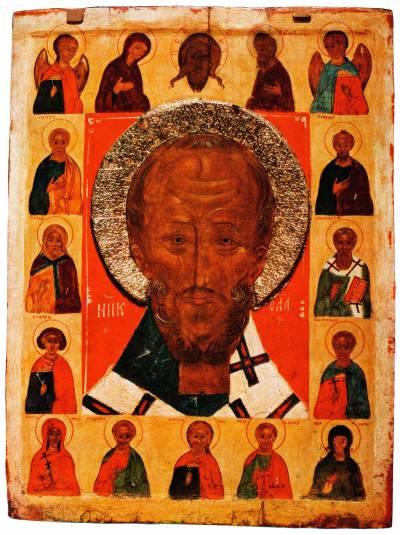 Святитель Николай Чудотворец (оплечный), Деисус и избранные святые на полях
