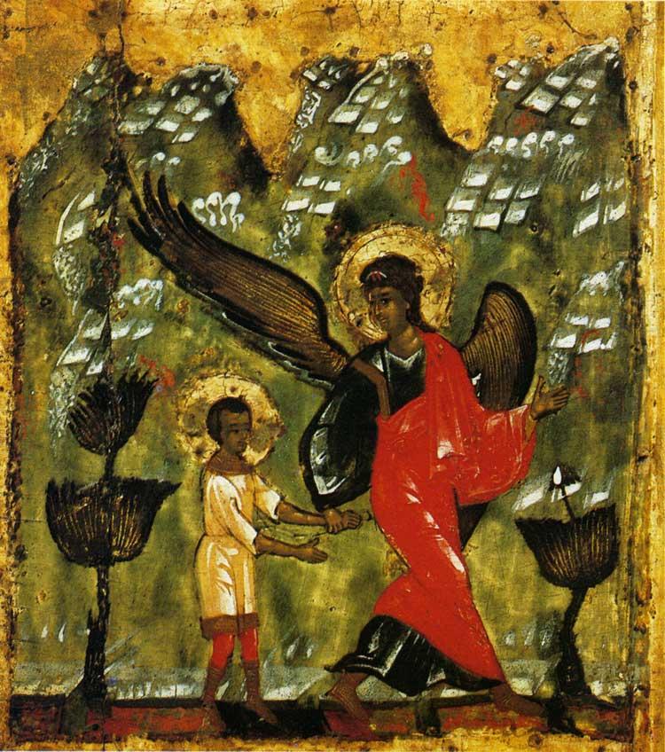 Άγγελος παίρνει το αγόρι Ιωάννη στην έρημο