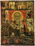 Никола с житием, Василием Великим и Феодором Тироном