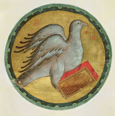 Орел — cимвол евангелиста Иоанна Богослова - Евангелие Хитрово [ф. 304, III, № 3 / М.8657 (Троиц.III.3)], л. 1 об.