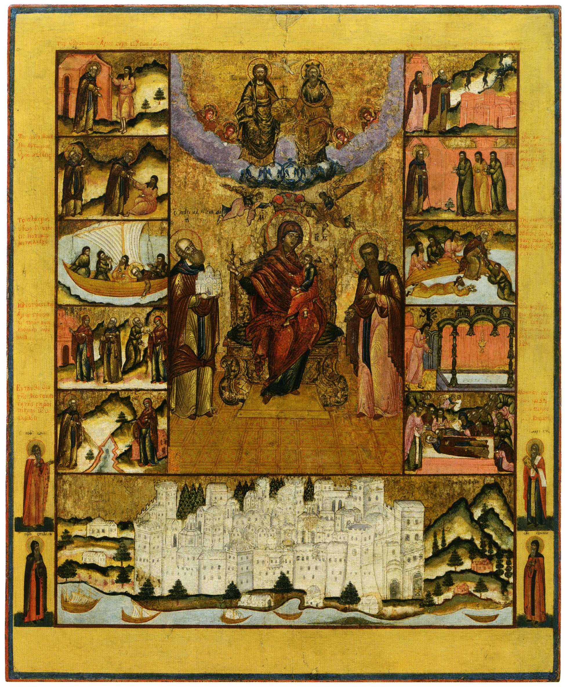 Богоматерь Экономисса, с житием прп. Афанасия Афонского и видом Великой лавры на Афоне