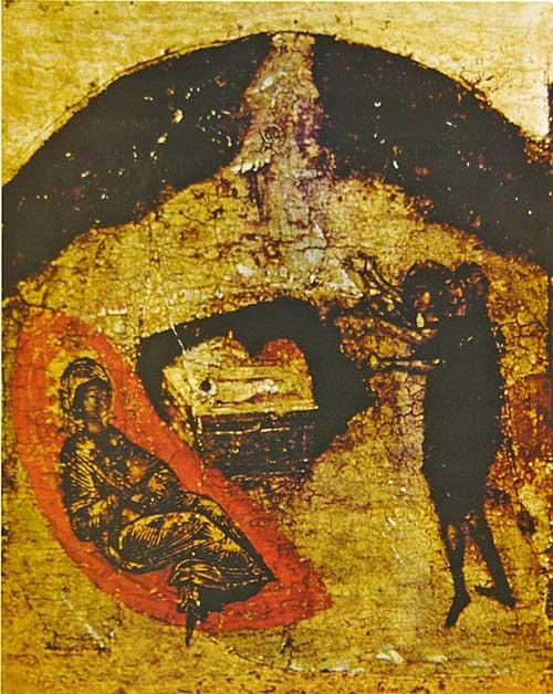 Икос IV: «Слышаша пастырие Ангелов поющих плотское Христово пришествие...»