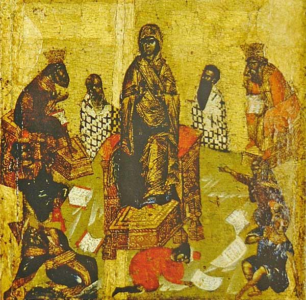 Икос IX: «Ветия многовещанныя, яко рабы безгласныя видим о Тебе, Богородице...»