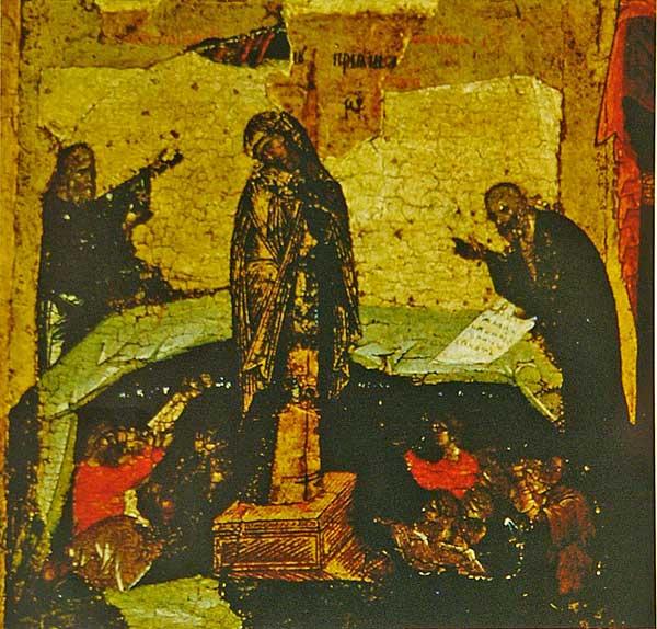 Икос XI: «Светоприемную свещу, сущим во тьме явльшуюся, зрим Святую Деву...»