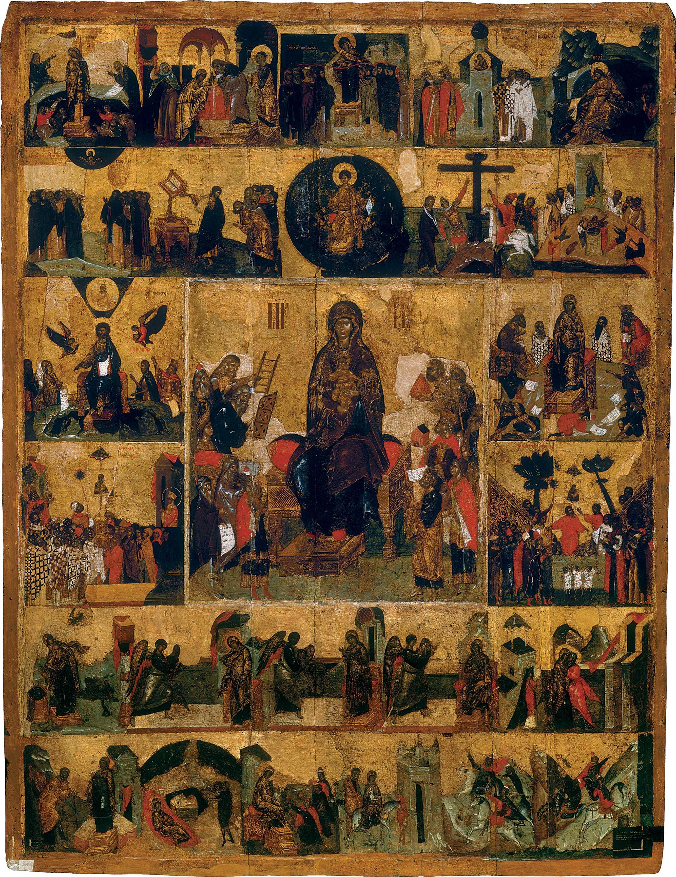 Lobpreis der Muttergottes mit Szenen aus dem Akathistos-Hymnus