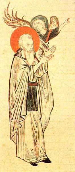 Ангел, возводящий исихаста в молитве - Четвероевангелие, Псалтирь, Фикара [cod.809], миниатюра