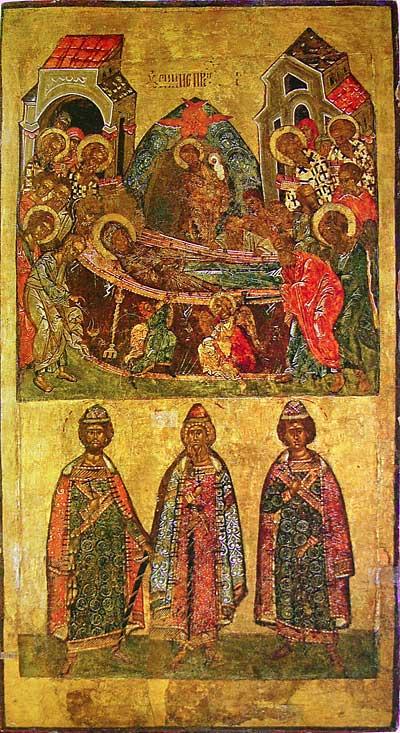 Успение Богоматери и киевские князья Владимир, Борис и Глеб