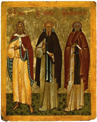 Илия Пророк, преподобный Пимен и Моисей Мурин