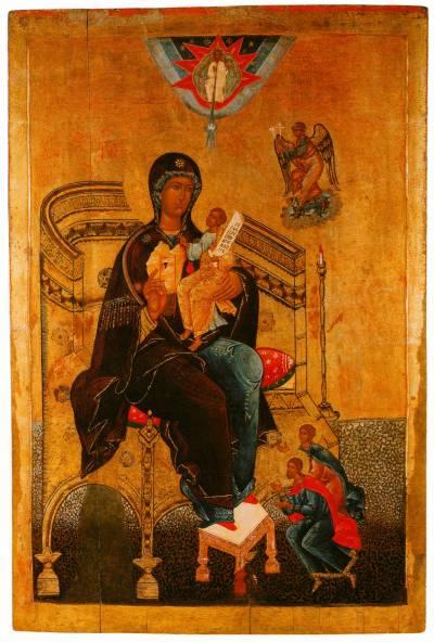 Богоматерь Гора Нерукосечная, с припадающими святыми Никитой и Евпраксией